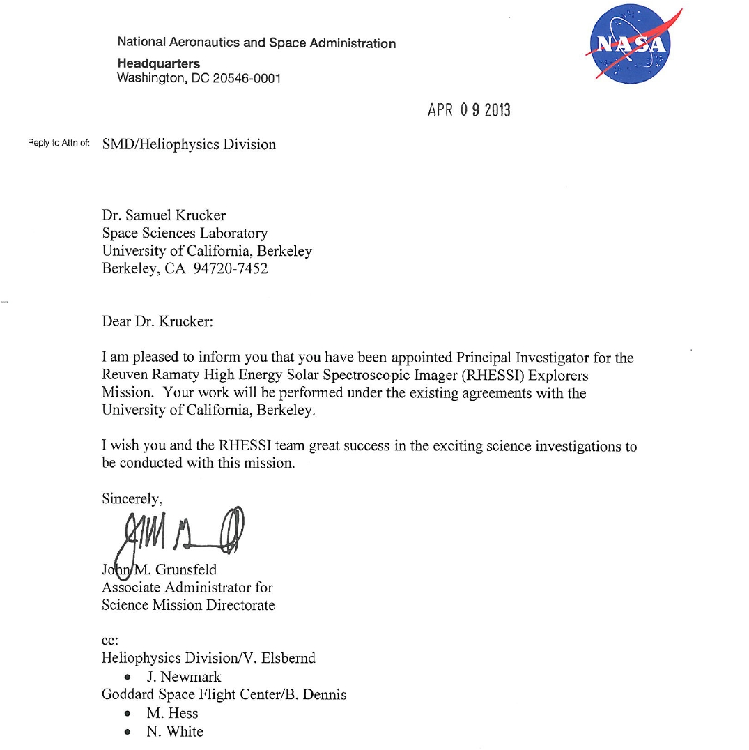 Sam Krucker officially appointed by NASA as the RHESSI PI to replace ...